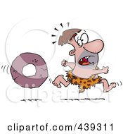 Royalty Free RF Clip Art Illustration Of A Cartoon Caveman Running From A Stone Wheel by toonaday
