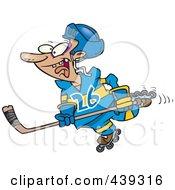 Royalty Free RF Clip Art Illustration Of A Cartoon Hockey Player Skating by toonaday
