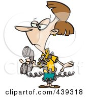 Royalty Free RF Clip Art Illustration Of A Cartoon Inept Woman Tangled In A Phone Cord