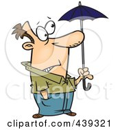 Royalty Free RF Clip Art Illustration Of A Cartoon Ill Prepared Man Holding A Tiny Umbrella