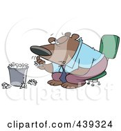 Royalty Free RF Clip Art Illustration Of A Cartoon Bored Business Bear Tossing Crumpled Paper In The Trash by toonaday