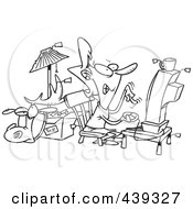 Royalty Free RF Clip Art Illustration Of A Cartoon Black And White Outline Design Of An Internet Auction Addict by toonaday
