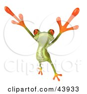Dancing 3d Green Tree Frog Leaping And Holding His Arms Up
