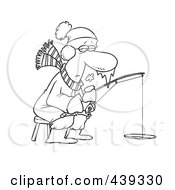 Royalty Free RF Clip Art Illustration Of A Cartoon Black And White Outline Design Of A Frozen Man Ice Fishing
