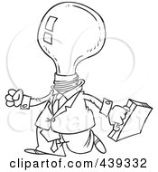 Royalty Free RF Clip Art Illustration Of A Cartoon Black And White Outline Design Of A Light Bulb Headed Businessman by toonaday