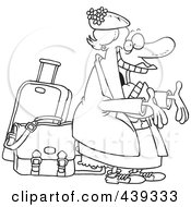 Cartoon Black And White Outline Design Of A Happy Auntie Greeting By Her Luggage