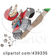 Royalty Free RF Clip Art Illustration Of A Cartoon Boy Riding An ATV Uphill