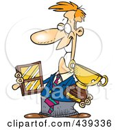 Royalty Free RF Clip Art Illustration Of A Cartoon Businessman Holding His Awards