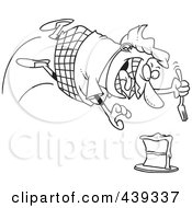 Royalty Free RF Clip Art Illustration Of A Cartoon Black And White Outline Design Of A Chubby Woman Diving For A Cake