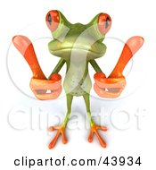 Clipart Illustration Of A Cute 3d Green Tree Frog Giving Two Thumbs Up Or Measuring With His Fingers