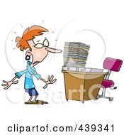 Royalty Free RF Clip Art Illustration Of A Cartoon Businesswoman With A Piled Inbox