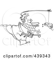 Royalty Free RF Clip Art Illustration Of A Cartoon Black And White Outline Design Of A Man Chasing A Hot Dog As Incentive by toonaday