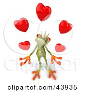 Clipart Illustration Of A Loving 3d Green Frog Prince Wearing A Crown And Juggling Hearts