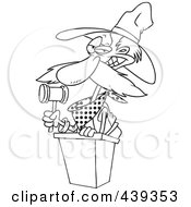 Royalty Free RF Clip Art Illustration Of A Cartoon Black And White Outline Design Of A Cowboy Auctioneer by toonaday