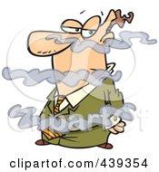 Royalty Free RF Clip Art Illustration Of A Cartoon Businessman In A Fog