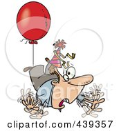 Royalty Free RF Clip Art Illustration Of A Cartoon Awry Man Floating Away With A Party Balloon