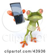 Clipart Illustration Of A Cute 3d Green Tree Frog Holding Up A Cell Phone