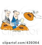 Royalty Free RF Clip Art Illustration Of A Cartoon Businessmen And Incoming Mail