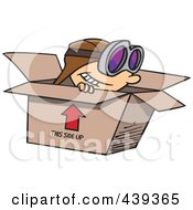 Royalty Free RF Clip Art Illustration Of A Cartoon Boy Wearing Goggles And Pretending To Fly In A Box by toonaday