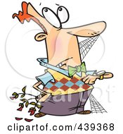 Royalty Free RF Clip Art Illustration Of A Cartoon Patient Man Covered In Cobwebs Roses Dying by toonaday