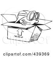 Royalty Free RF Clip Art Illustration Of A Cartoon Black And White Outline Design Of A Boy Wearing Goggles And Pretending To Fly In A Box