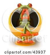Clipart Illustration Of A Thoughtful 3d Green Tree Frog Sitting In An Orange Cocoon Chair