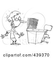 Royalty Free RF Clip Art Illustration Of A Cartoon Black And White Outline Design Of A Businesswoman With A Piled Inbox