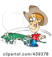 Royalty Free RF Clip Art Illustration Of A Cartoon Boy Catching An Iguana by toonaday