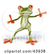 Clipart Illustration Of A Cute 3d Dancing Green Tree Frog With Big Red Eyes