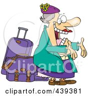 Royalty Free RF Clip Art Illustration Of A Cartoon Happy Auntie Greeting By Her Luggage by toonaday