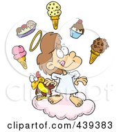 Royalty Free RF Clip Art Illustration Of A Cartoon Girl In Heaven With Ice Cream