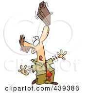 Royalty Free RF Clip Art Illustration Of A Cartoon Idle Businessman Balancing A Briefcase On His Nose