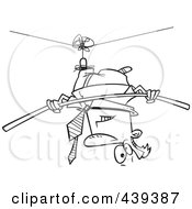 Royalty Free RF Clip Art Illustration Of A Cartoon Black And White Outline Design Of A Businessman Suspended Upside Down From A Tight Rope