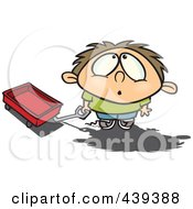 Royalty Free RF Clip Art Illustration Of A Cartoon Boy With A Wagon Looking Up In Awe
