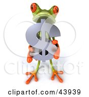 Clipart Illustration Of A Cute 3d Green Tree Frog Holding A Silver Dollar Symbol