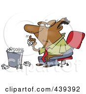Royalty Free RF Clip Art Illustration Of A Cartoon Bored Black Businessman Tossing Crumpled Paper In The Trash by toonaday