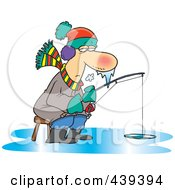 Royalty Free RF Clip Art Illustration Of A Cartoon Frozen Man Ice Fishing by Ron Leishman