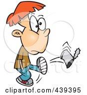 Royalty Free RF Clip Art Illustration Of A Cartoon Boy Kicking A Can