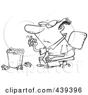 Royalty Free RF Clip Art Illustration Of A Cartoon Black And White Outline Design Of A Bored Black Businessman Tossing Crumpled Paper In The Trash