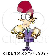 Royalty Free RF Clip Art Illustration Of A Cartoon Proud Businesswoman Showing Her Awards