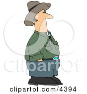 Cowboy Standing And Waiting With Hands In Pants Pockets