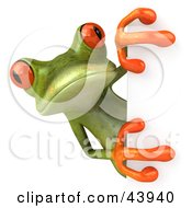 Clipart Illustration Of A Cute 3d Green Tree Frog Looking Around A White Sign