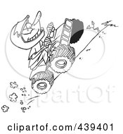 Royalty Free RF Clip Art Illustration Of A Cartoon Black And White Outline Design Of A Boy Riding An ATV Uphill