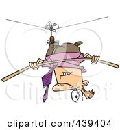 Royalty Free RF Clip Art Illustration Of A Cartoon Businessman Suspended Upside Down From A Tight Rope