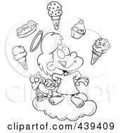 Cartoon Black And White Outline Design Of A Girl In Heaven With Ice Cream