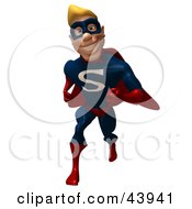 Clipart Illustration Of A Happy Blond 3d Super Hero Running Forward