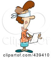 Cartoon Blindfolded Woman Taking Impartial Notes