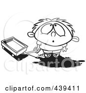 Royalty Free RF Clip Art Illustration Of A Cartoon Black And White Outline Design Of A Boy With A Wagon Looking Up In Awe