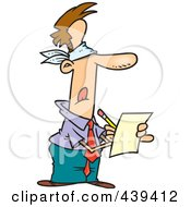 Cartoon Blindfolded Businessman Writing A Review