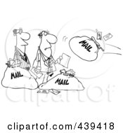 Royalty Free RF Clip Art Illustration Of A Cartoon Black And White Outline Design Of Businessmen And Incoming Mail